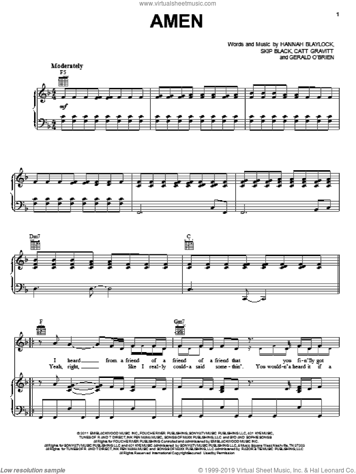 Amen sheet music for voice, piano or guitar by Skip Black