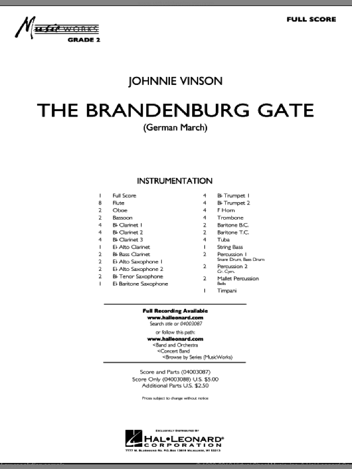 The Brandenburg Gate (German March) sheet music for concert band (full score) by Johnnie Vinson