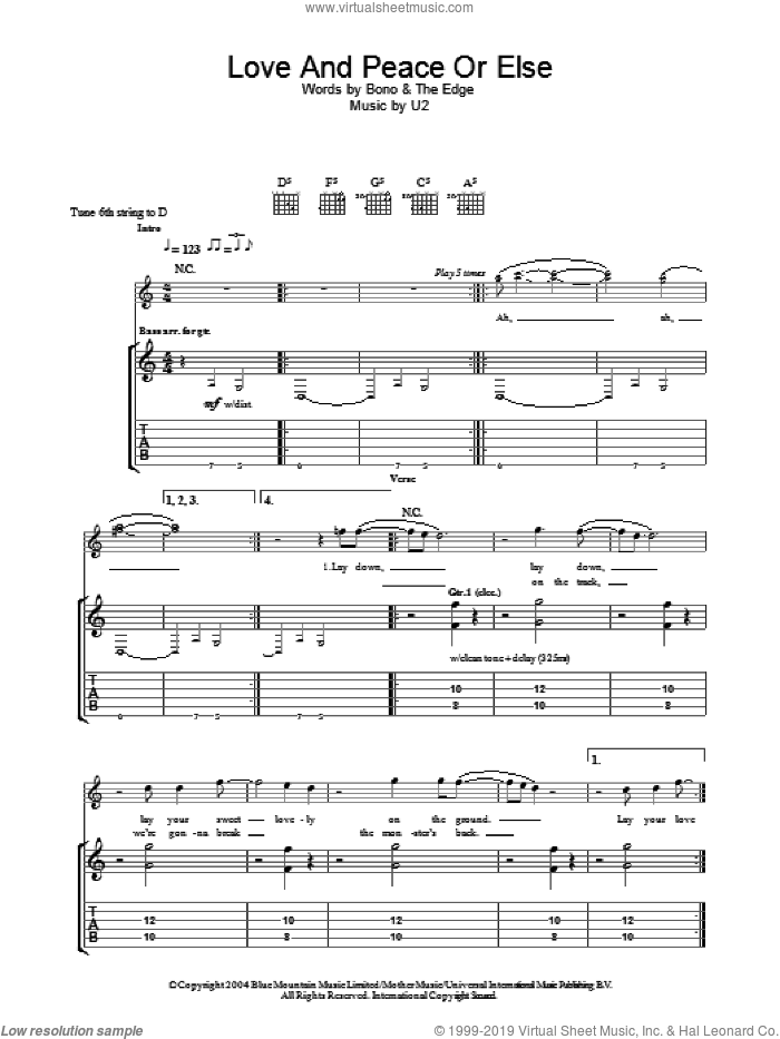 Love And Peace Or Else sheet music for guitar (tablature) by U2, Bono and The Edge, intermediate