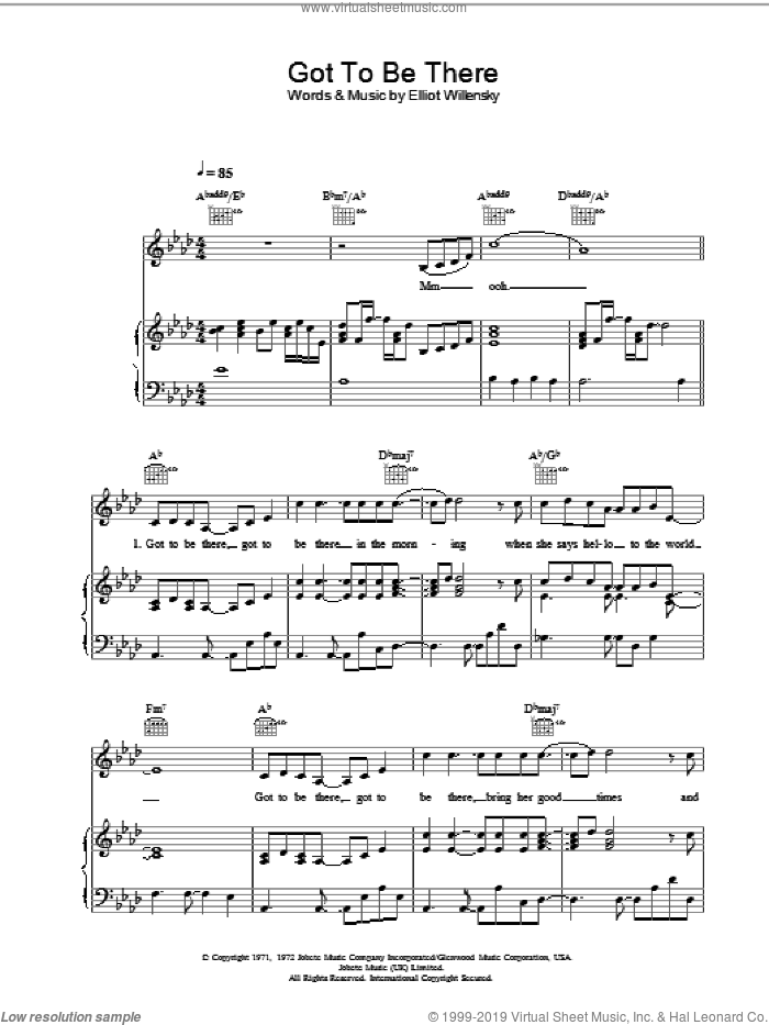Got To Be There sheet music for voice, piano or guitar by Elliot Willensky