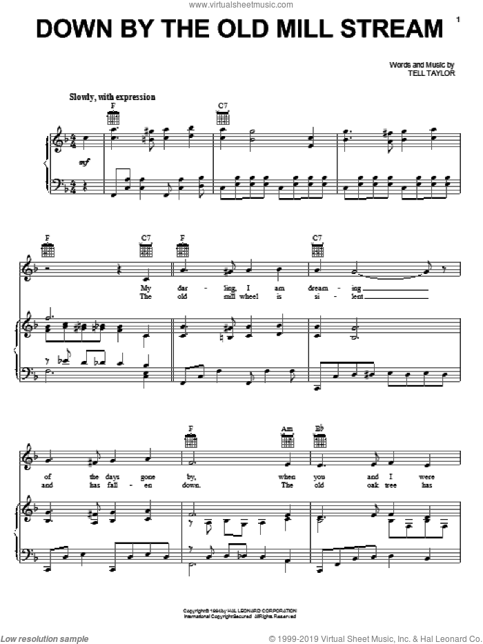 Down By The Old Mill Stream sheet music for voice, piano or guitar by Tell Taylor, intermediate skill level