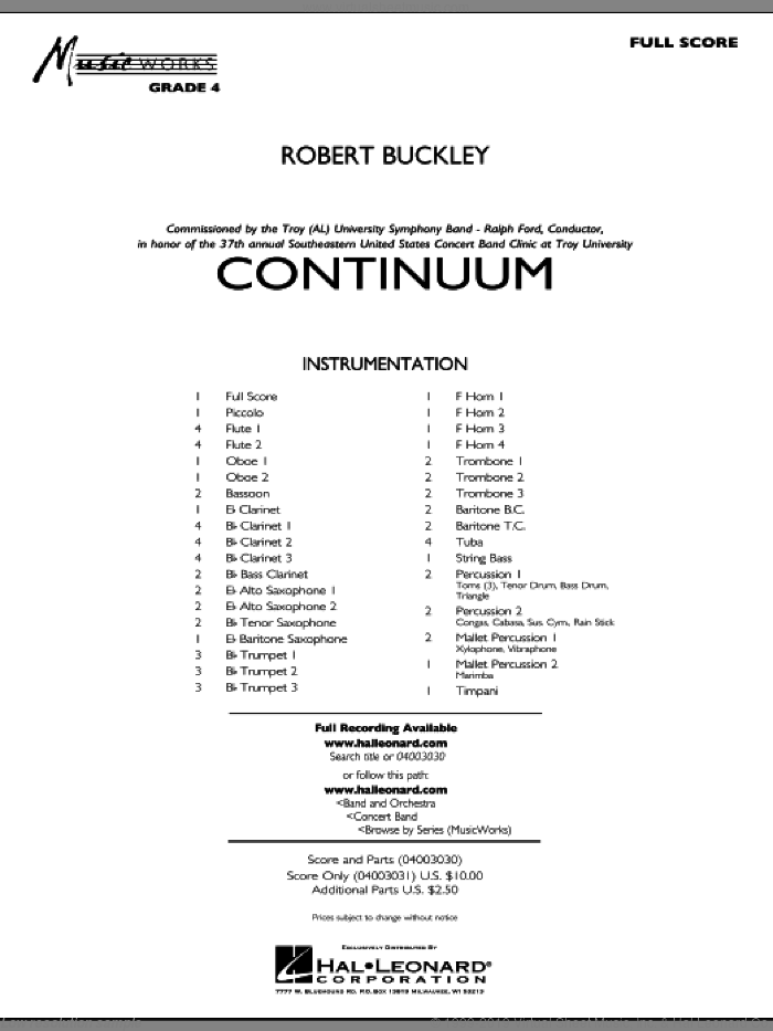 Continuum sheet music for concert band (full score) by Robert Buckley