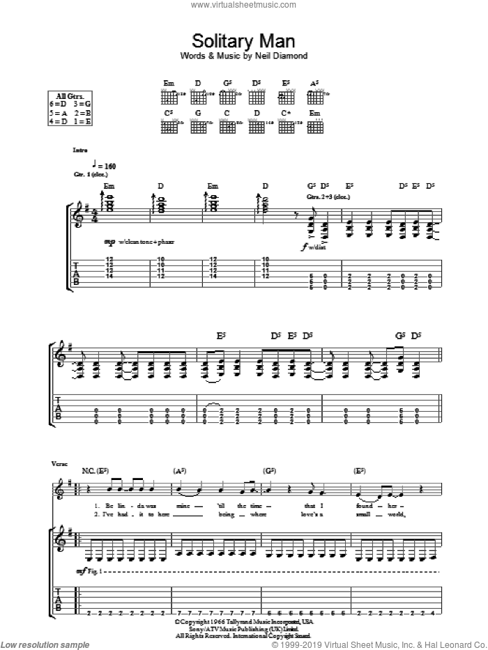 Solitary Man sheet music for guitar (tablature) by Neil Diamond, HIM and Johnny Cash. Score Image Preview.