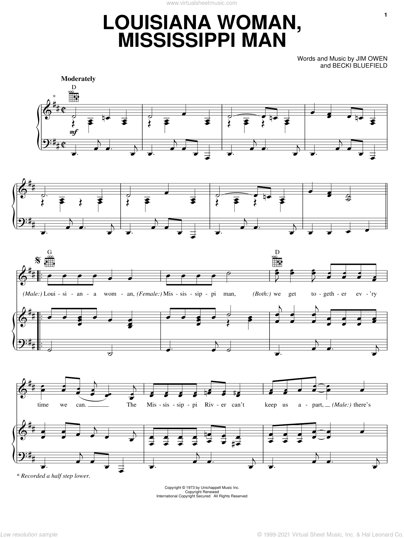 Louisiana Woman, Mississippi Man sheet music for voice, piano or guitar by Loretta Lynn, Conway Twitty, Becki Bluefield and Jim Owen, intermediate. Score Image Preview.