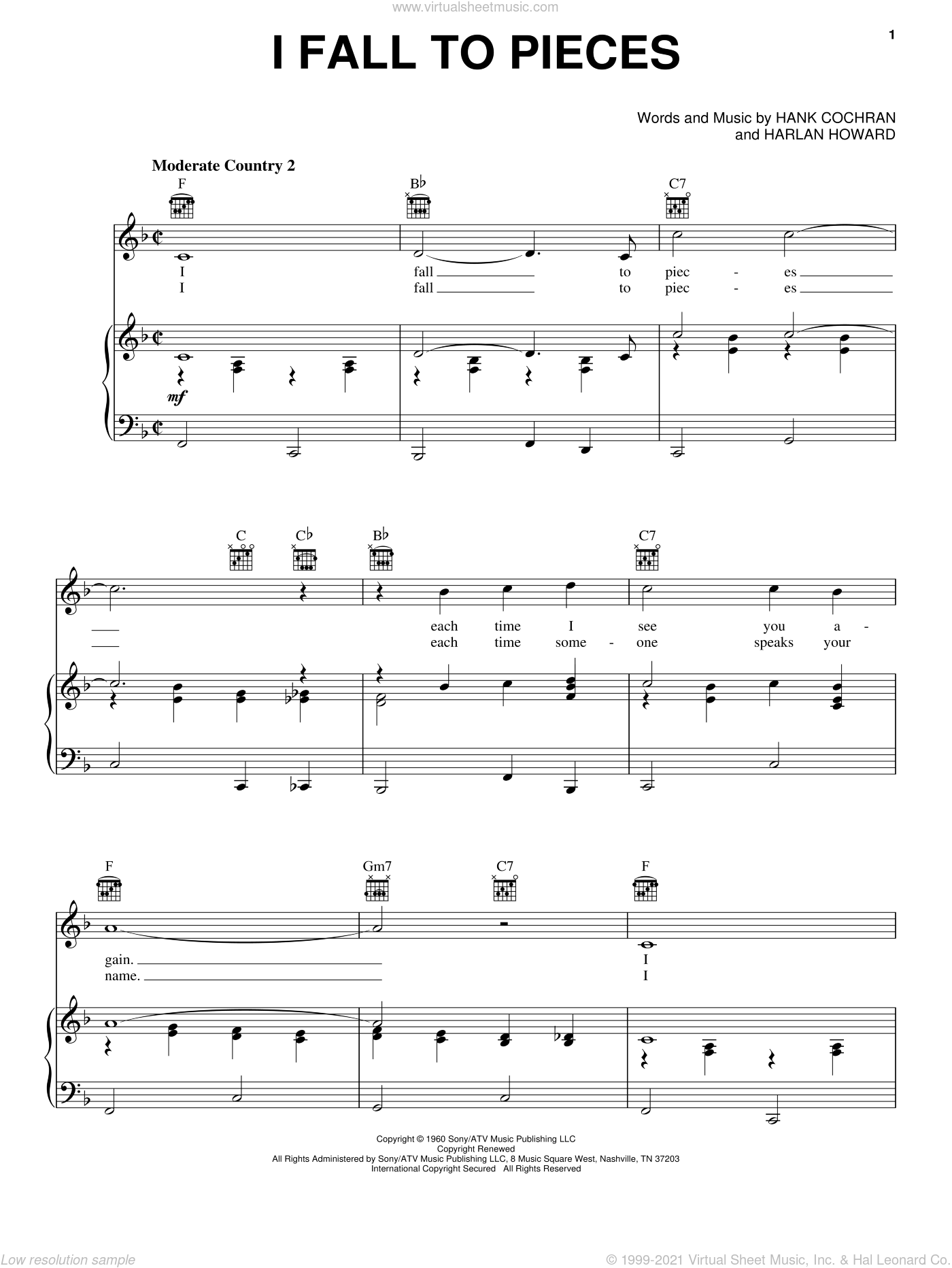 I Fall To Pieces sheet music for voice, piano or guitar by Patsy Cline, Loretta Lynn, Hank Cochran and Harlan Howard, intermediate voice, piano or guitar. Score Image Preview.