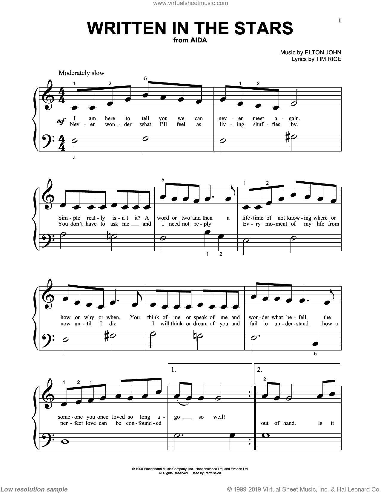 Written In The Stars sheet music for piano solo (big note book) by Elton John and Tim Rice, easy piano (big note book)