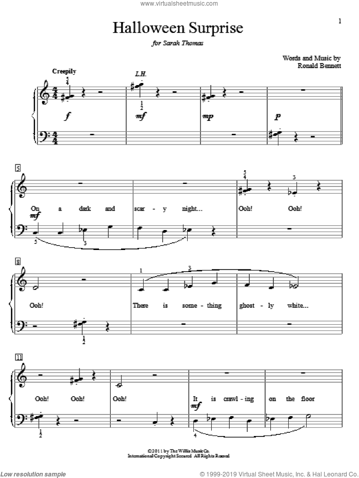 Halloween Surprise sheet music for piano solo (elementary) by Ronald Bennett, beginner piano (elementary). Score Image Preview.
