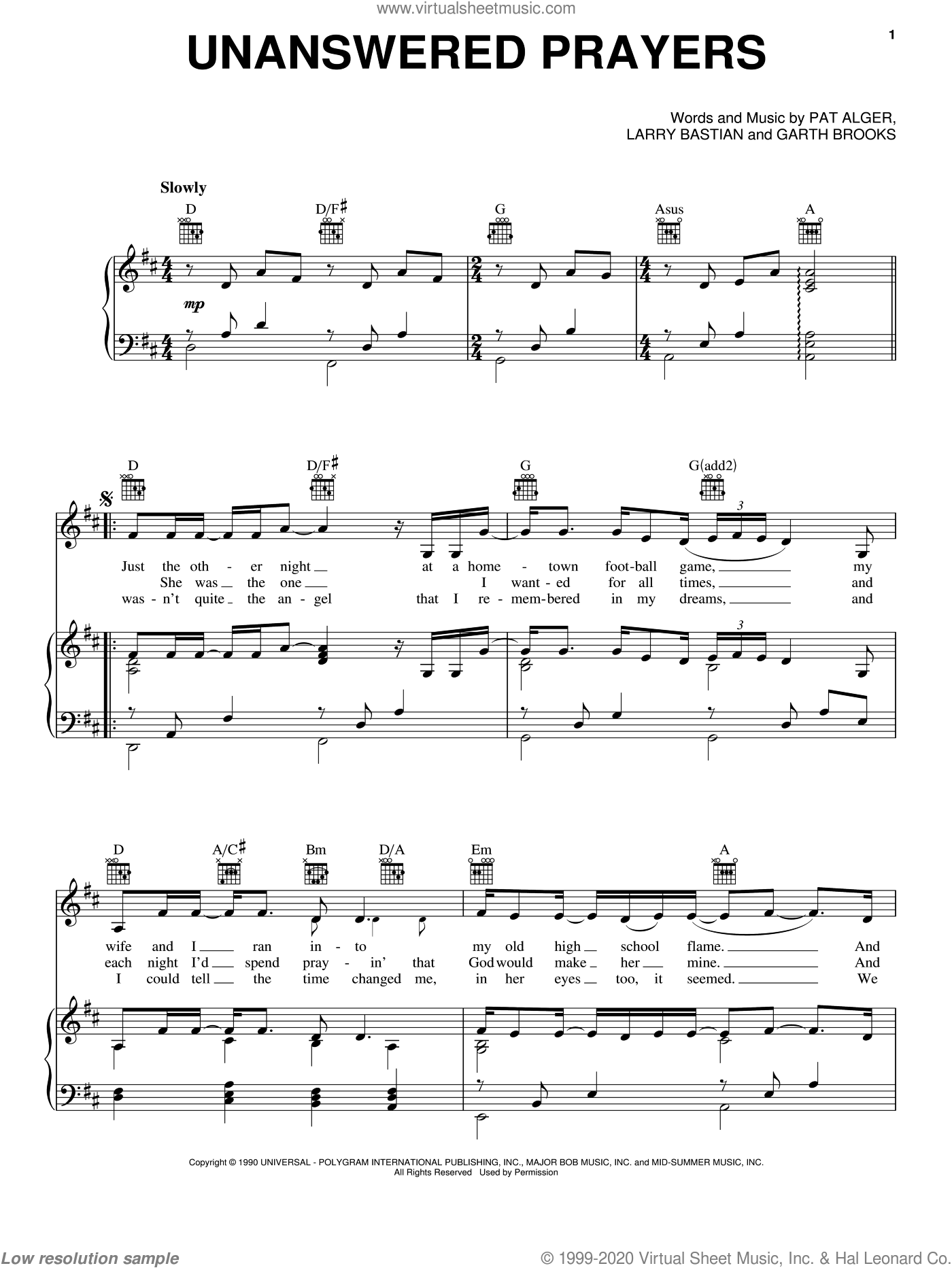 Unanswered Prayers sheet music for voice, piano or guitar by Garth Brooks, Larry Bastian and Patrick Alger, intermediate skill level