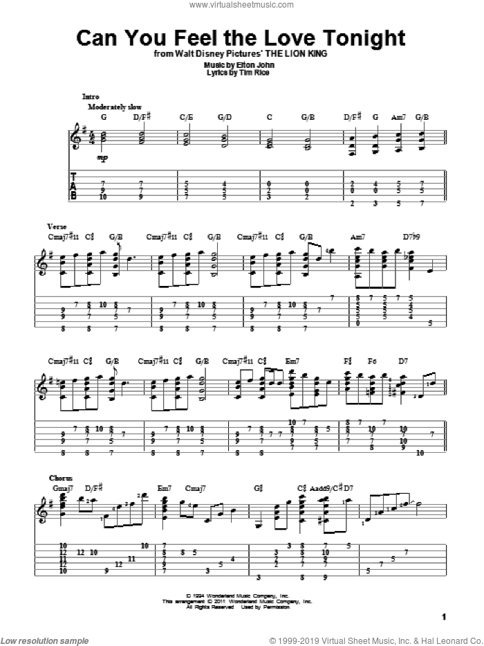 Can You Feel The Love Tonight (from The Lion King) sheet music for guitar solo by Elton John, The Lion King and Tim Rice, intermediate skill level