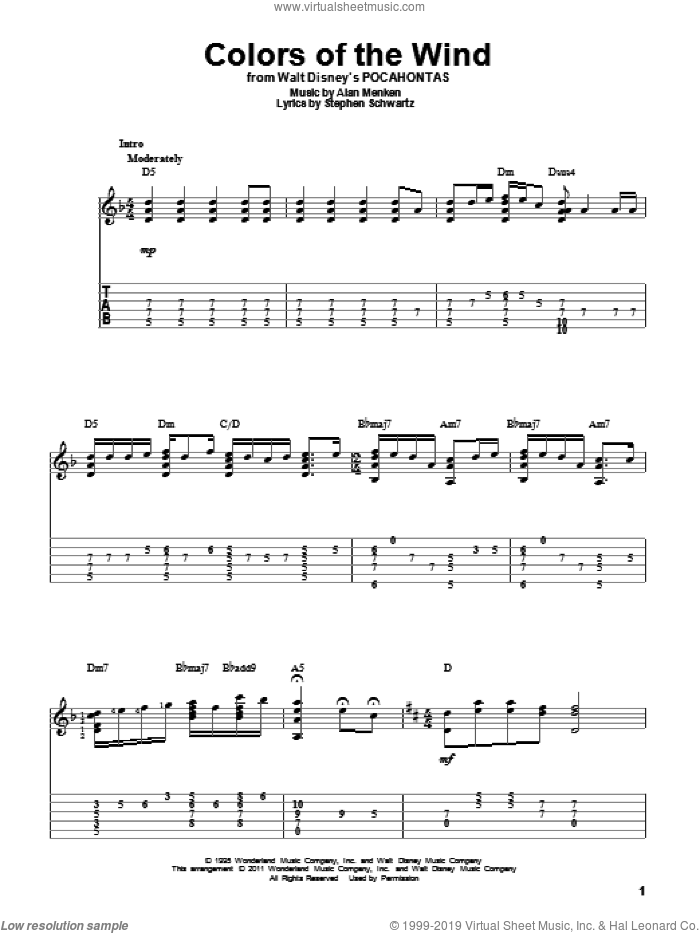 Menken - Colors Of The Wind sheet music for guitar solo [PDF]