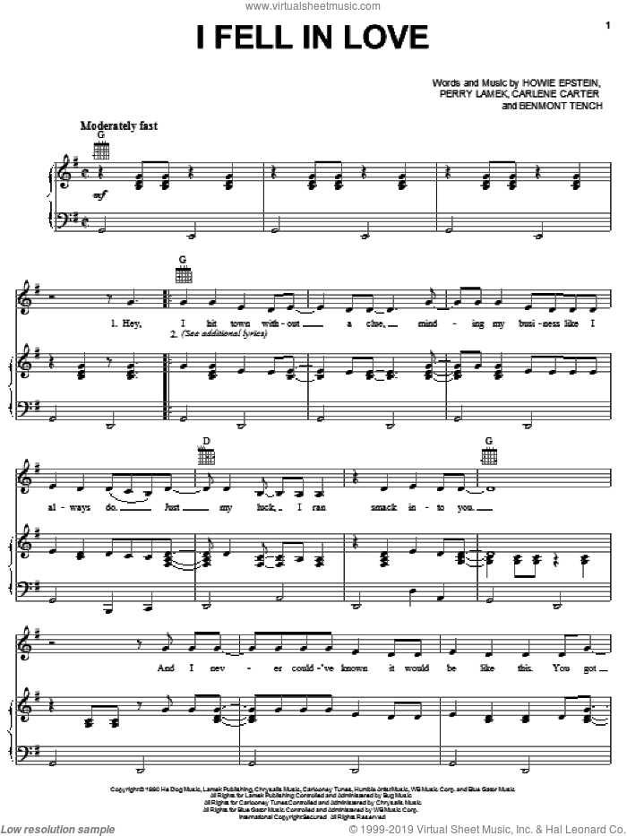 I Fell In Love sheet music for voice, piano or guitar by Perry Lamek