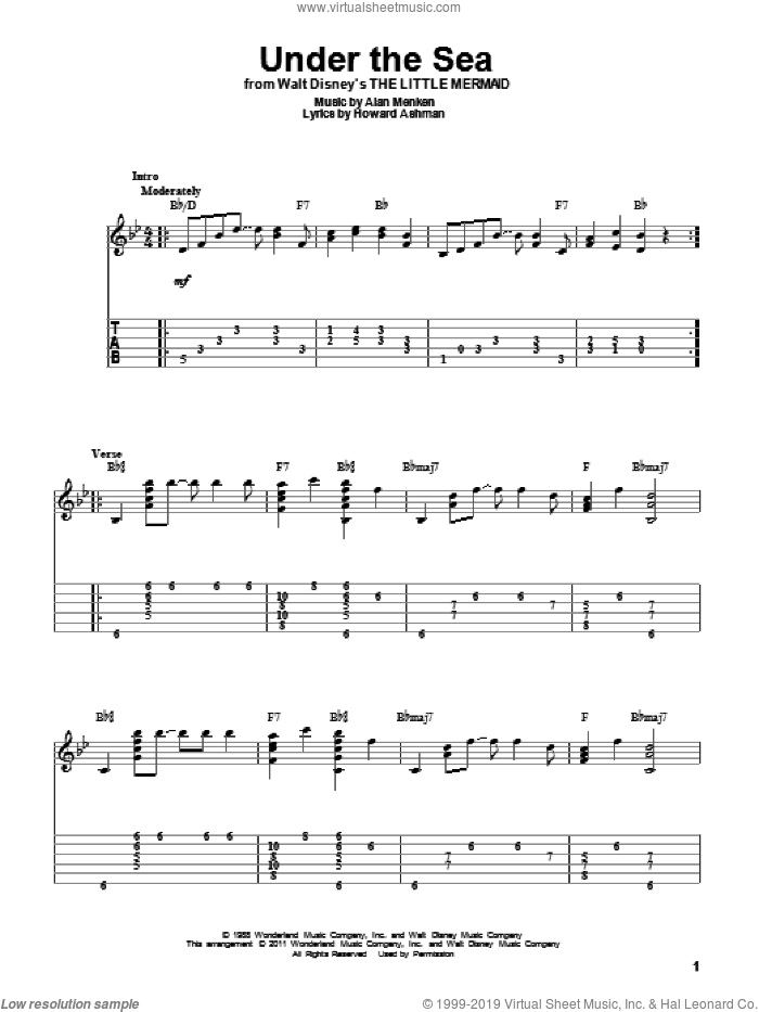 Under The Sea sheet music for guitar solo by Howard Ashman and Alan Menken