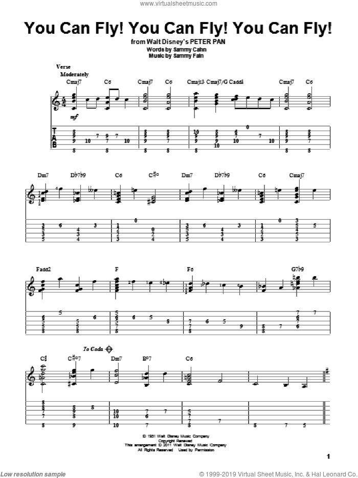 You Can Fly! You Can Fly! You Can Fly! sheet music for guitar solo by Sammy Cahn and Sammy Fain, intermediate skill level