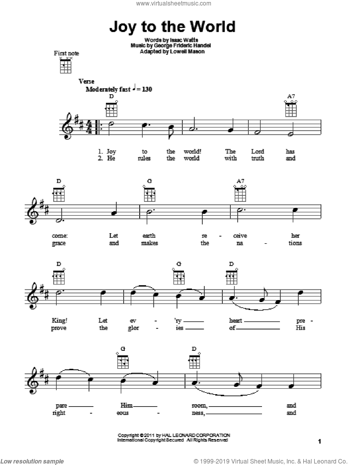 Joy To The World sheet music for ukulele by Isaac Watts, George Frideric Handel and Lowell Mason, intermediate skill level