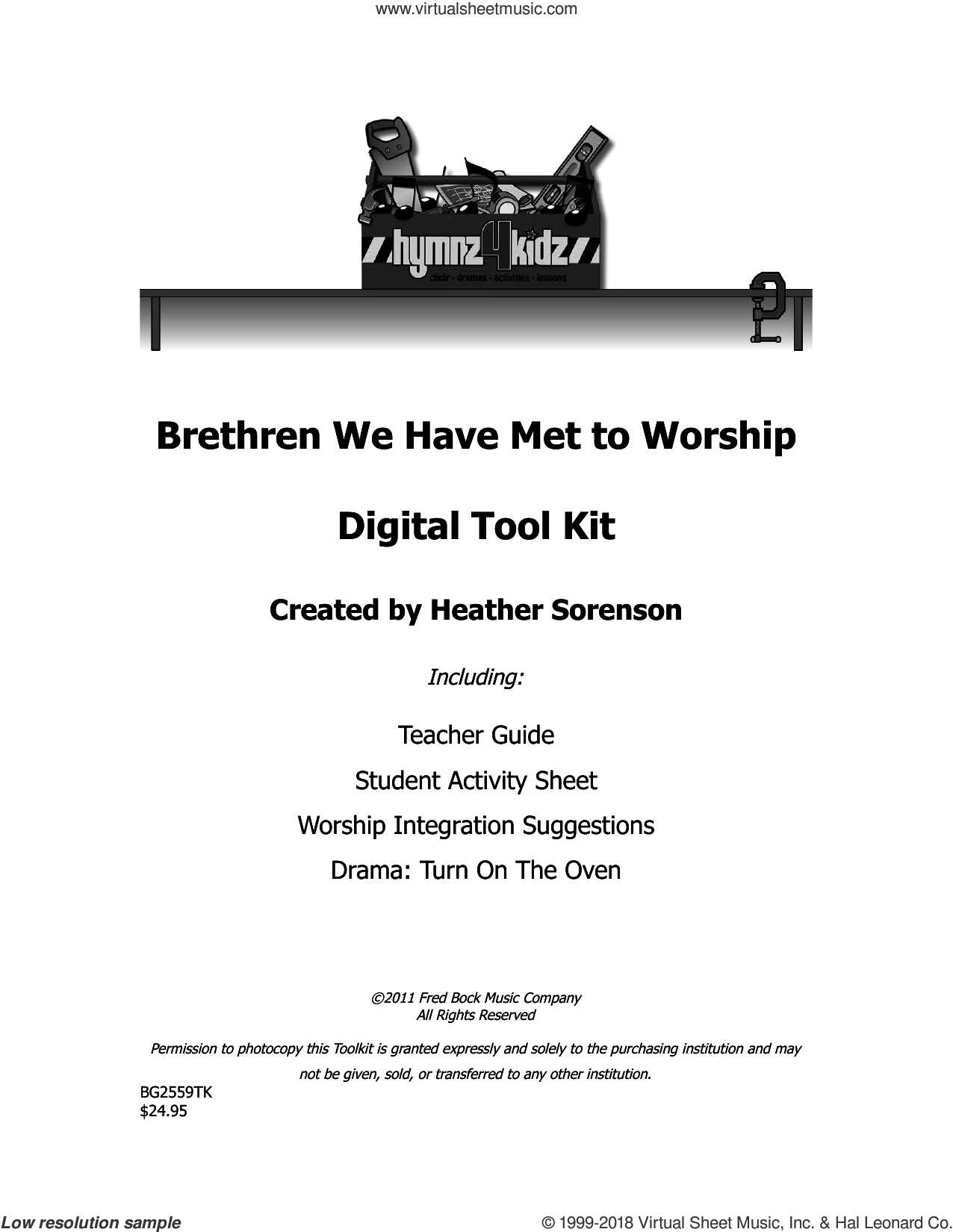 Brethren We Have Met To Worship sheet music for choir (choral tool kit) by William Moore and Heather Sorenson. Score Image Preview.