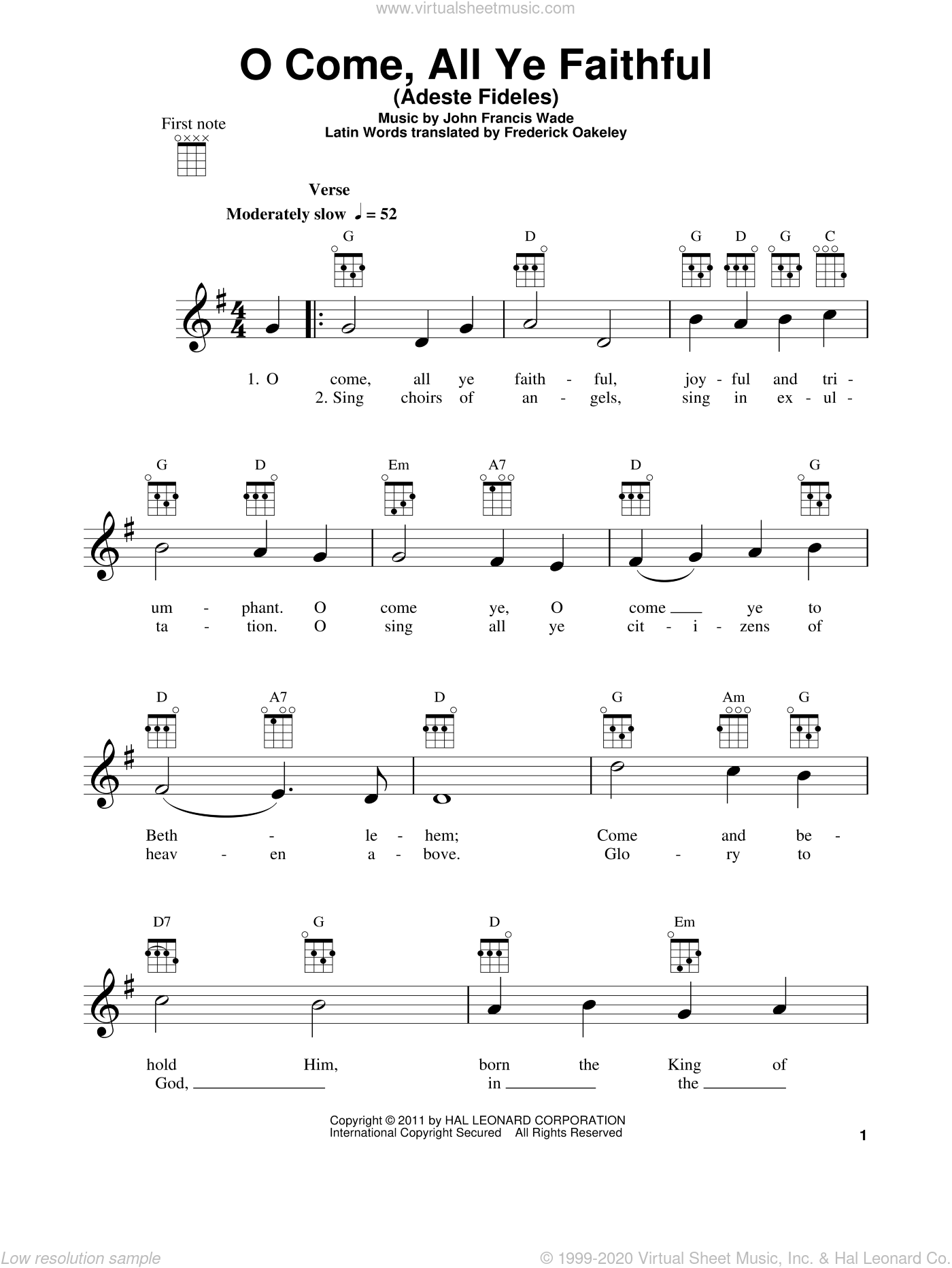 O Come, All Ye Faithful (Adeste Fideles) sheet music for ukulele by John Francis Wade and Frederick Oakeley, intermediate skill level