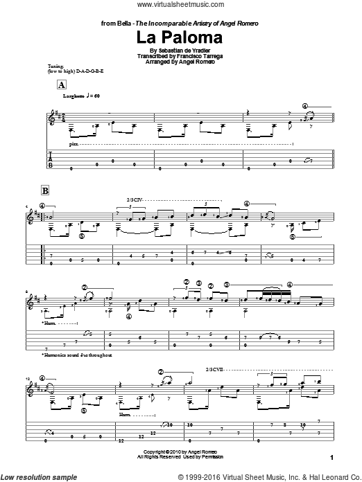 La Paloma sheet music for guitar solo by Angel Romero and Francisco Tarrega. Score Image Preview.
