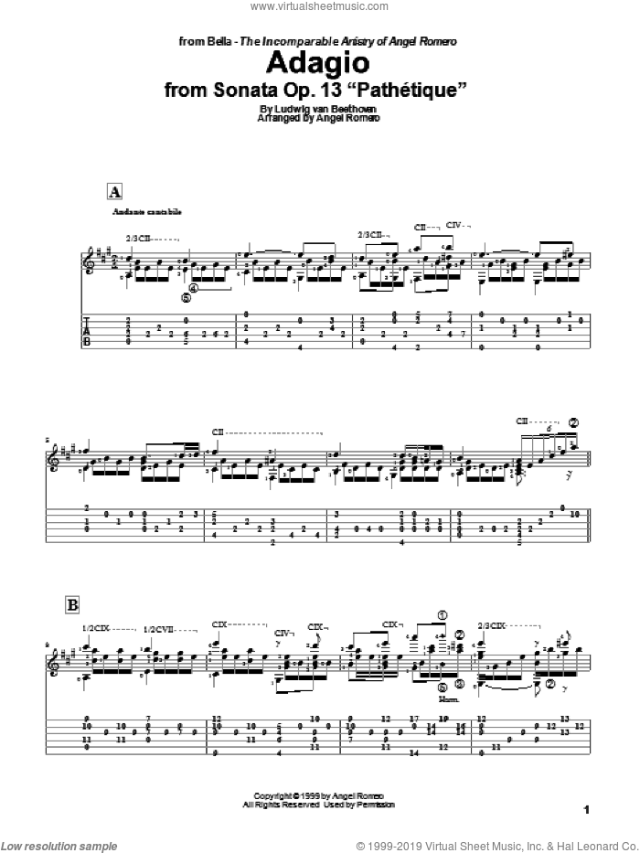 Adagio sheet music for guitar solo by Angel Romero and Ludwig van Beethoven. Score Image Preview.