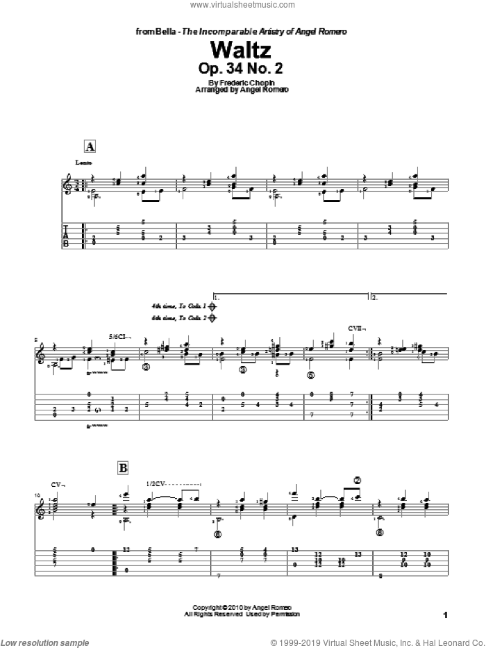 Waltz, Op. 34 No. 2 sheet music for guitar solo by Angel Romero and Frederic Chopin, classical score, intermediate. Score Image Preview.