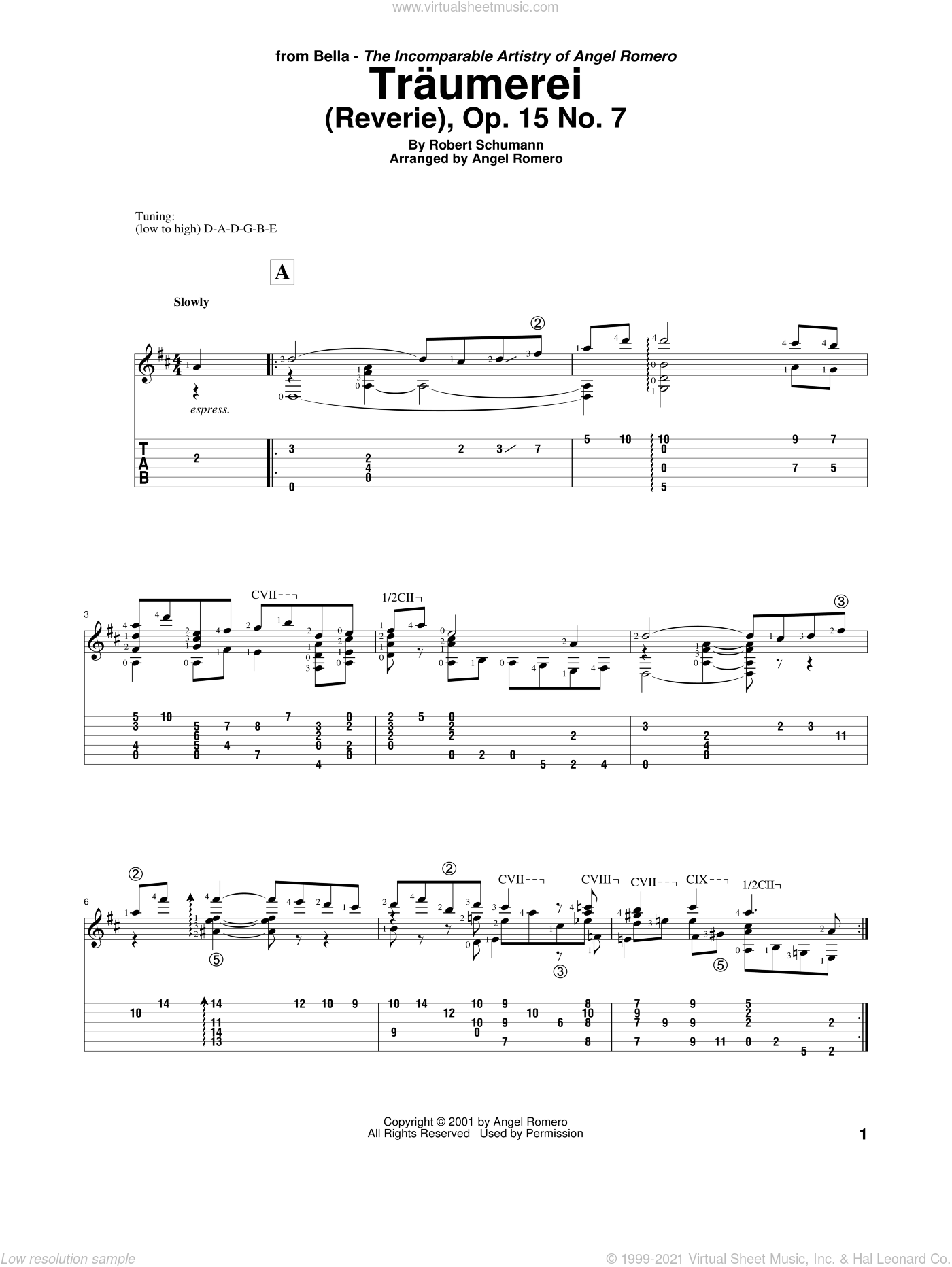 Traumerei (Reverie), Op. 15 No. 7 sheet music for guitar solo by Angel Romero and Robert Schumann, classical score, intermediate skill level