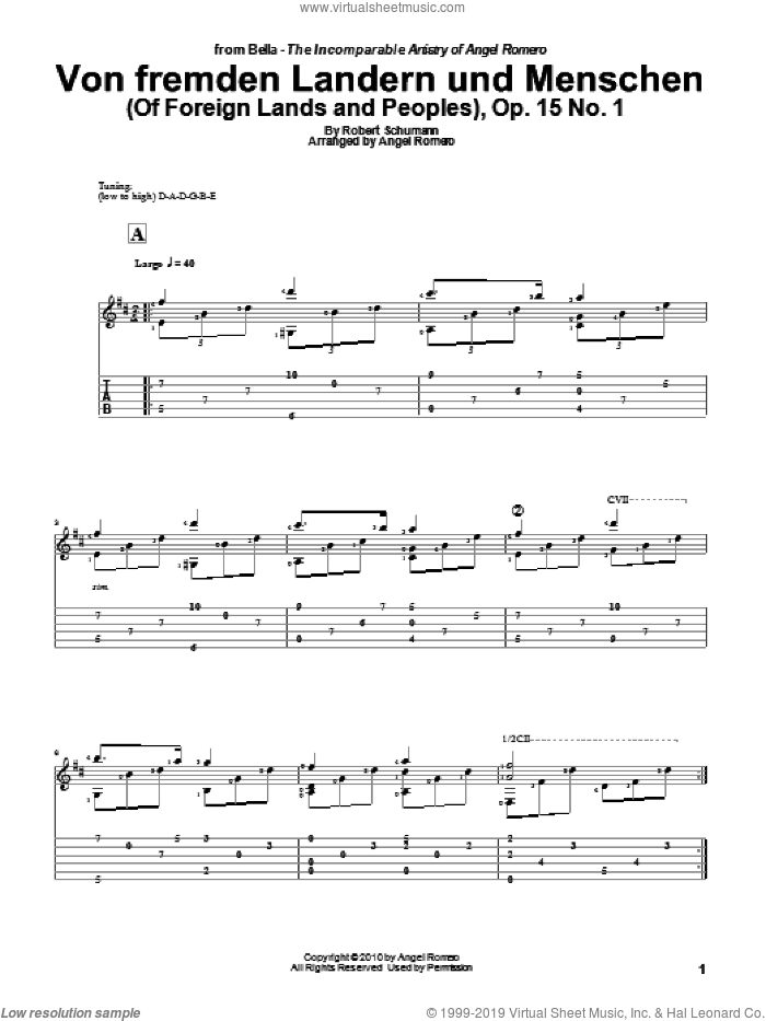 Von Fremden Landern Und Menschen (Of Foreign Lands and Peoples), Op. 15 No. 1 sheet music for guitar solo by Angel Romero and Robert Schumann, classical score, intermediate guitar. Score Image Preview.