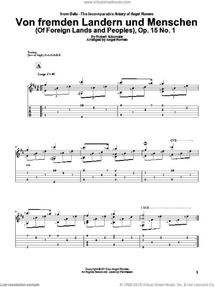 Von Fremden Landern Und Menschen (Of Foreign Lands and Peoples), Op. 15 No. 1 sheet music for guitar solo by Angel Romero and Robert Schumann, classical score, intermediate skill level