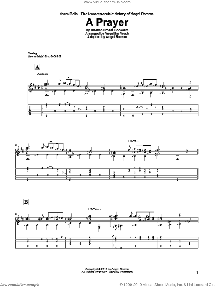 A Prayer sheet music for guitar solo by Yuquijiro Yocoh and Angel Romero. Score Image Preview.