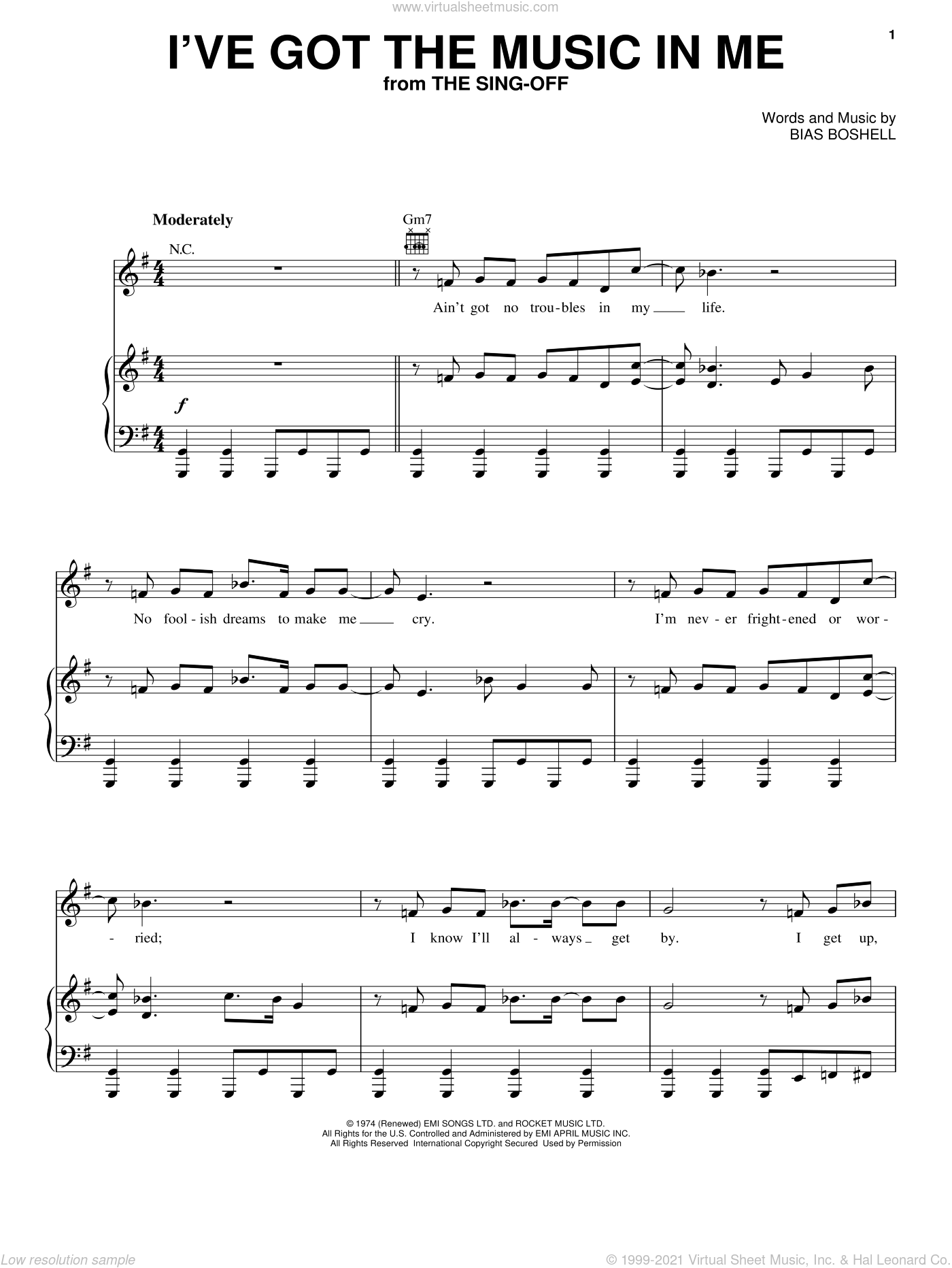 I've Got The Music In Me sheet music for voice, piano or guitar by Kiki Dee and Bias Boshell, intermediate skill level