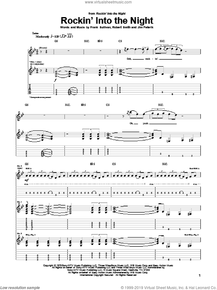 Rockin' Into The Night sheet music for guitar (tablature) by Robert Gary Smith, Frank Sullivan and Jim Peterik. Score Image Preview.