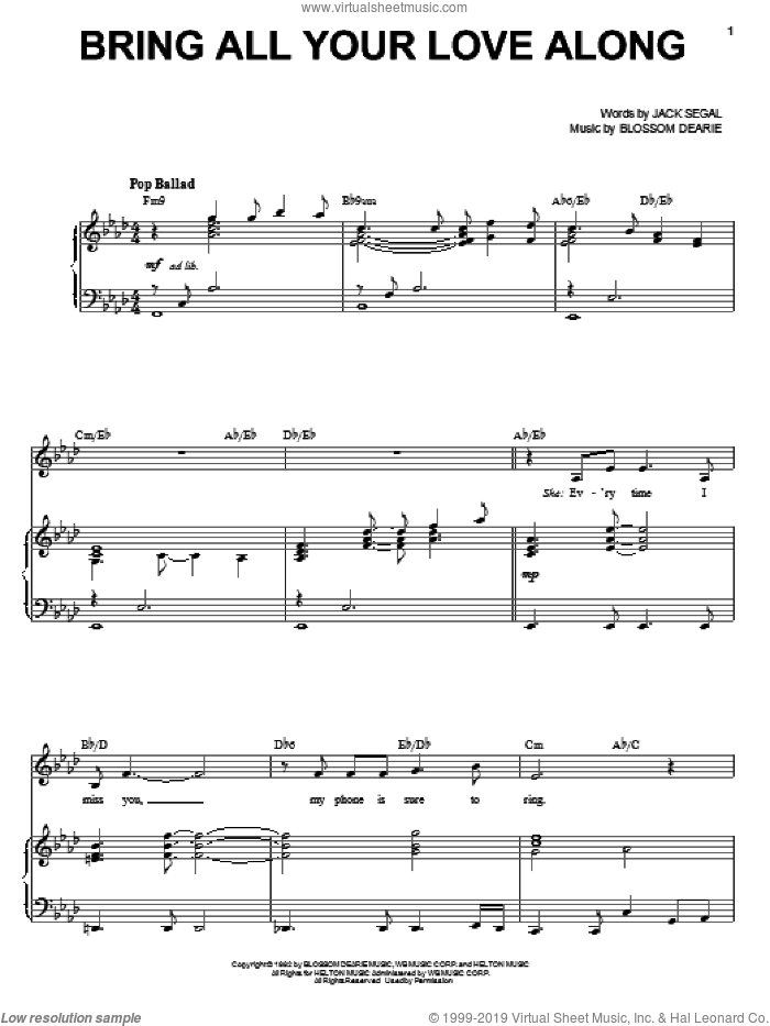 Bring All Your Love Along sheet music for voice, piano or guitar by Blossom Dearie and Jack Segal. Score Image Preview.
