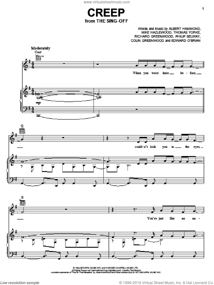 Creep sheet music for voice, piano or guitar by Radiohead, Albert Hammond, Colin Greenwood, Jonathan Greenwood, Michael Hazlewood, Philip Selway and Thom Yorke, intermediate