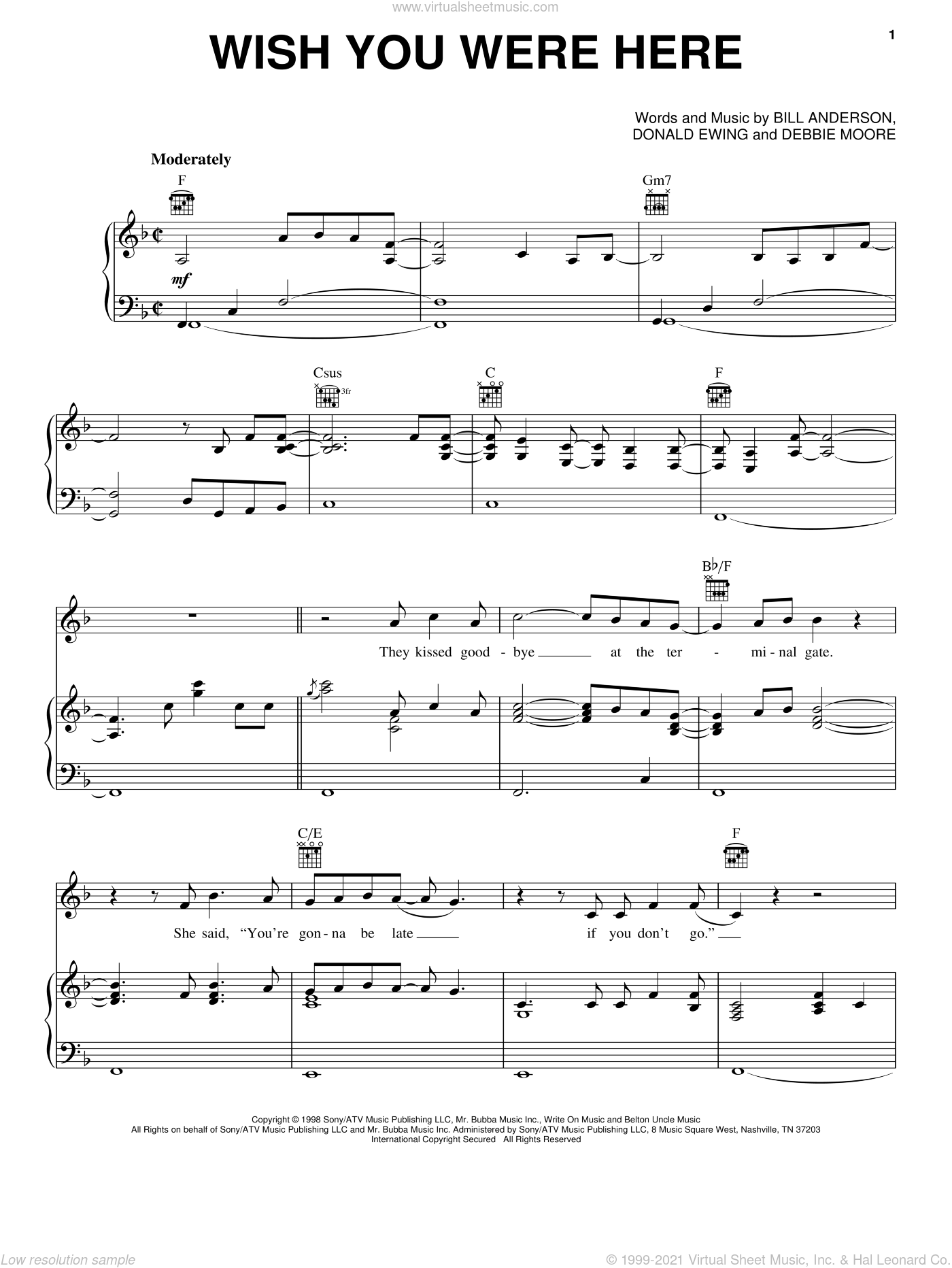 Wish You Were Here sheet music for voice, piano or guitar by Bill Anderson, Mark Wills, Debbie Moore and Donald Ewing, intermediate skill level