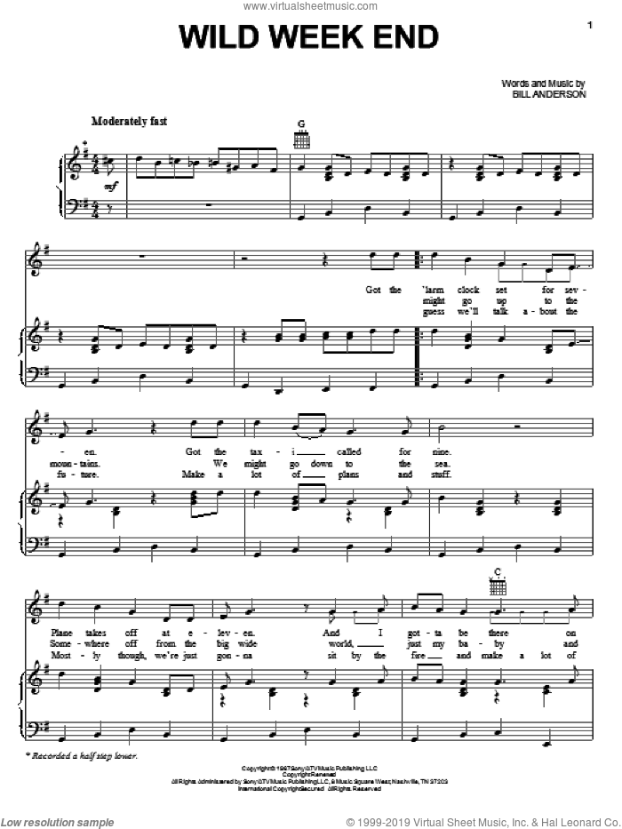 Wild Week End sheet music for voice, piano or guitar by Bill Anderson, intermediate skill level