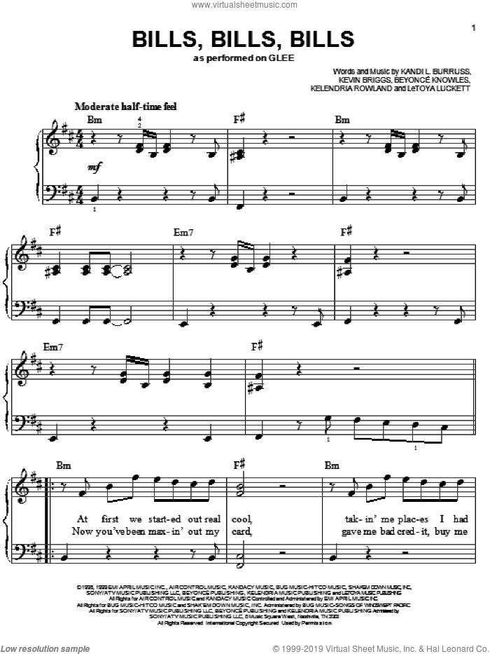 Bills, Bills, Bills sheet music for piano solo by Glee Cast, Miscellaneous, Beyonce, Kandi L. Burruss, Kelendria Rowland, Kevin Briggs and LeToya Luckett, easy skill level