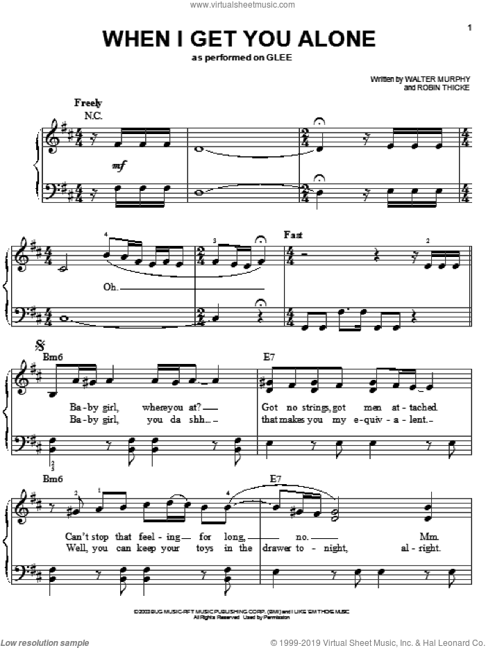When I Get You Alone sheet music for piano solo by Glee Cast, Miscellaneous, Robin Thicke and Walter Murphy, easy. Score Image Preview.