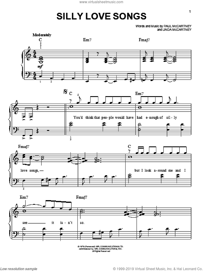 Silly Love Songs sheet music for piano solo by Glee Cast, Miscellaneous and Paul McCartney and Wings, Linda McCartney and Paul McCartney, easy skill level