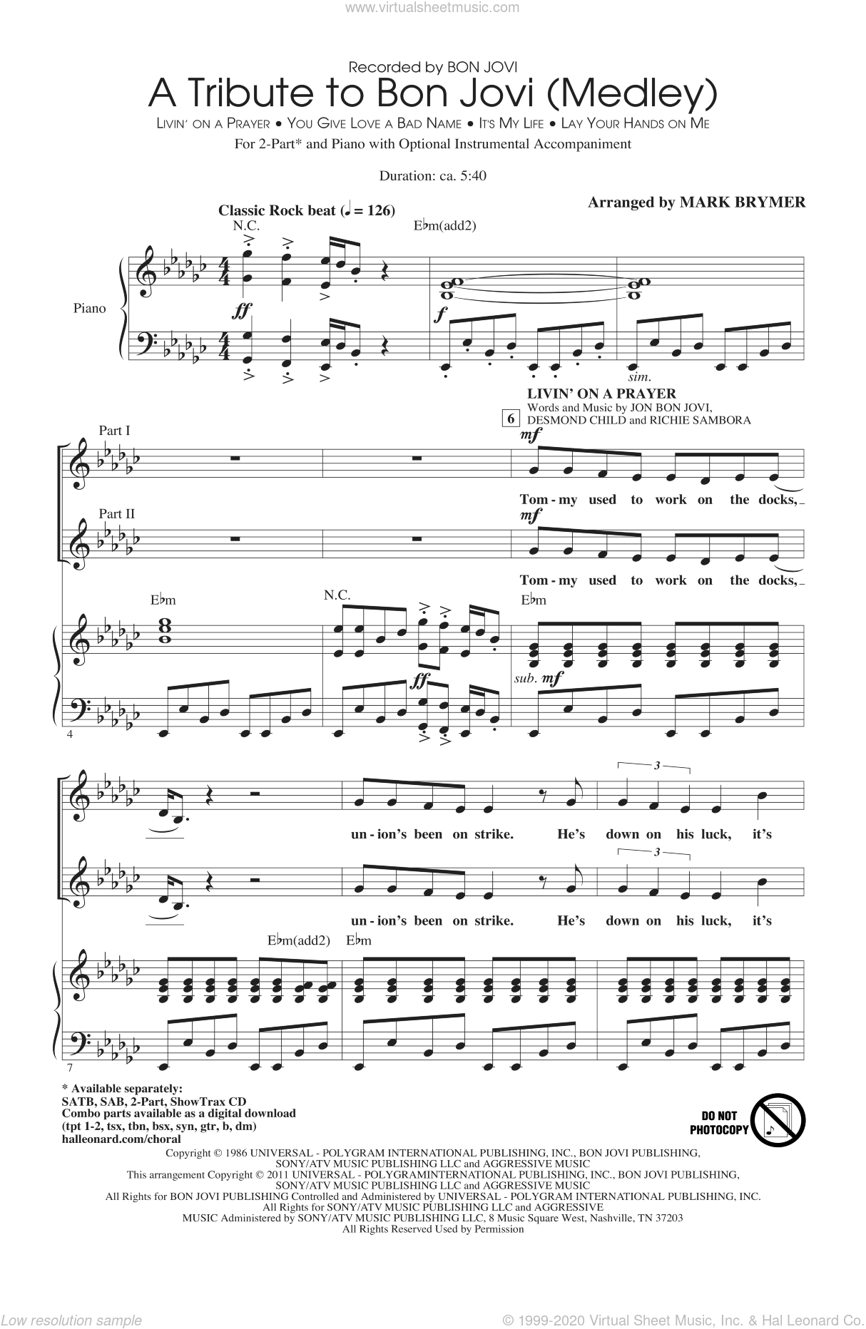 A Tribute To Bon Jovi (Medley) sheet music for choir (duets) by Bon Jovi, Desmond Child, Richie Sambora and Mark Brymer. Score Image Preview.