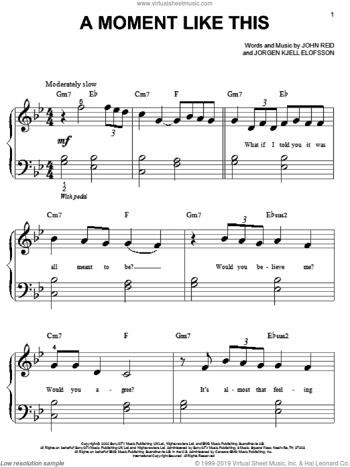 A Moment Like This sheet music for piano solo (big note book) by Jorgen Elofsson