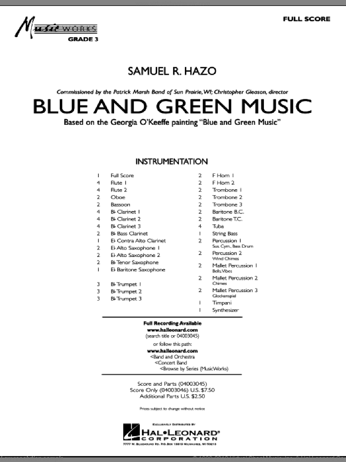 Blue And Green Music (COMPLETE) sheet music for concert band by Samuel R. Hazo, intermediate. Score Image Preview.