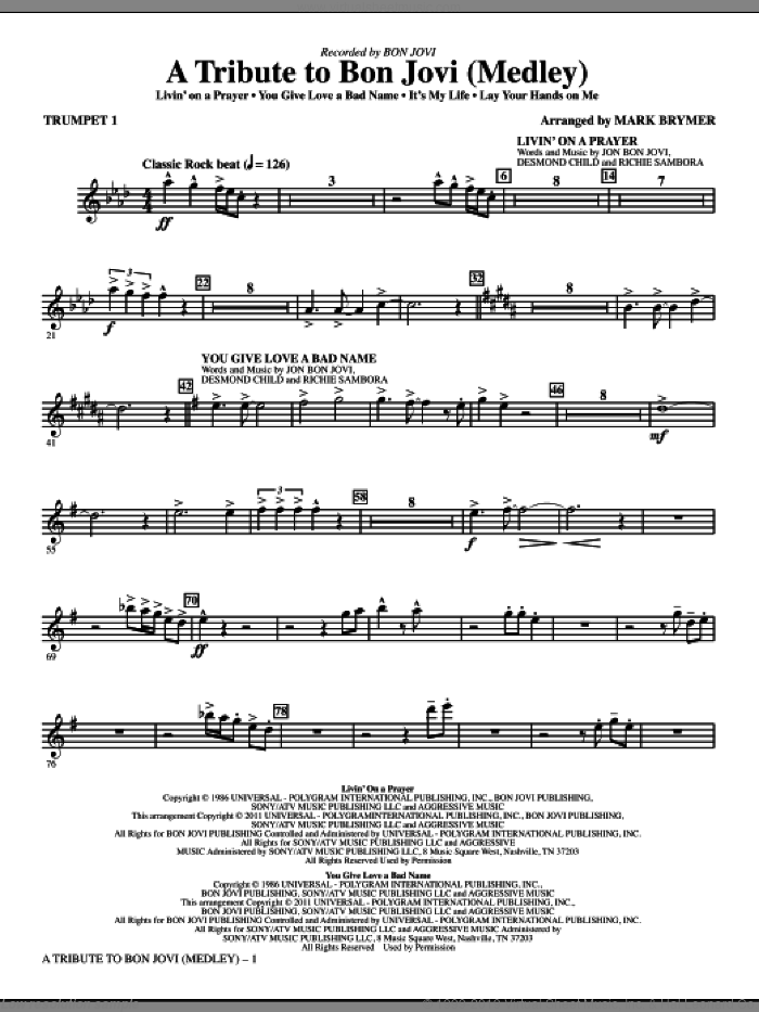 A Tribute To Bon Jovi (Medley) (complete set of parts) sheet music for orchestra/band by Bon Jovi, Richie Sambora and Mark Brymer, intermediate. Score Image Preview.