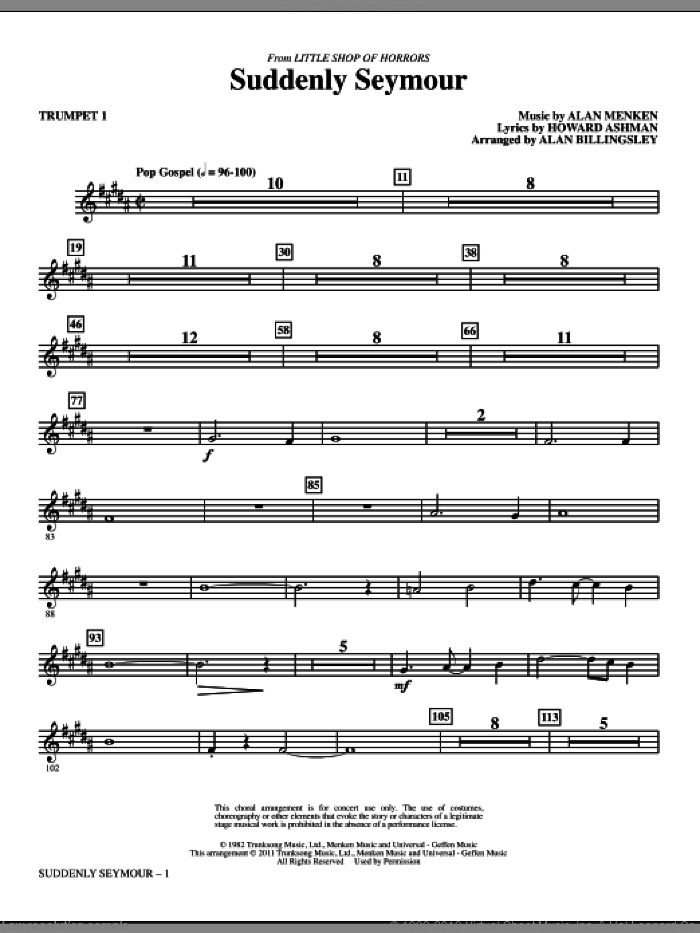 Suddenly Seymour (from Little Shop of Horrors) (arr. Alan Billingsley) (complete set of parts) sheet music for orchestra/band by Alan Menken, Howard Ashman and Alan Billingsley, intermediate skill level