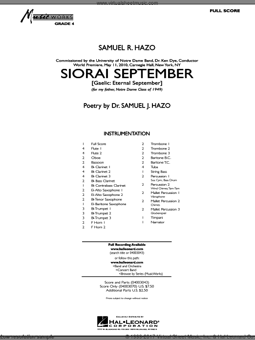 Siorai September (COMPLETE) sheet music for concert band by Samuel R. Hazo