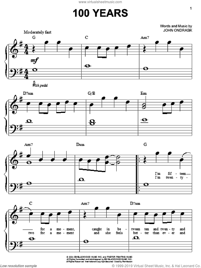 100 Years sheet music for piano solo (big note book) by Five For Fighting, easy piano (big note book). Score Image Preview.