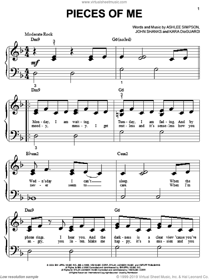 Pieces Of Me sheet music for piano solo (big note book) by Ashlee Simpson, Kara DioGuardi and John Shanks, easy piano (big note book)