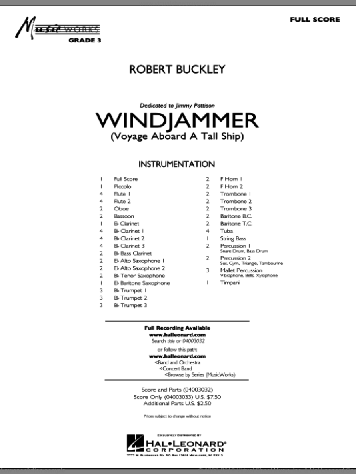 Windjammer (Voyage Aboard A Tall Ship) sheet music for concert band (full score) by Robert Buckley