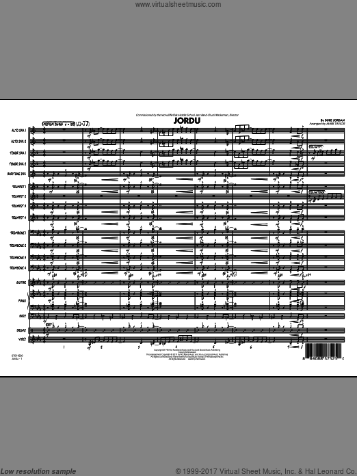 Jordu (COMPLETE) sheet music for jazz band by Duke Jordan