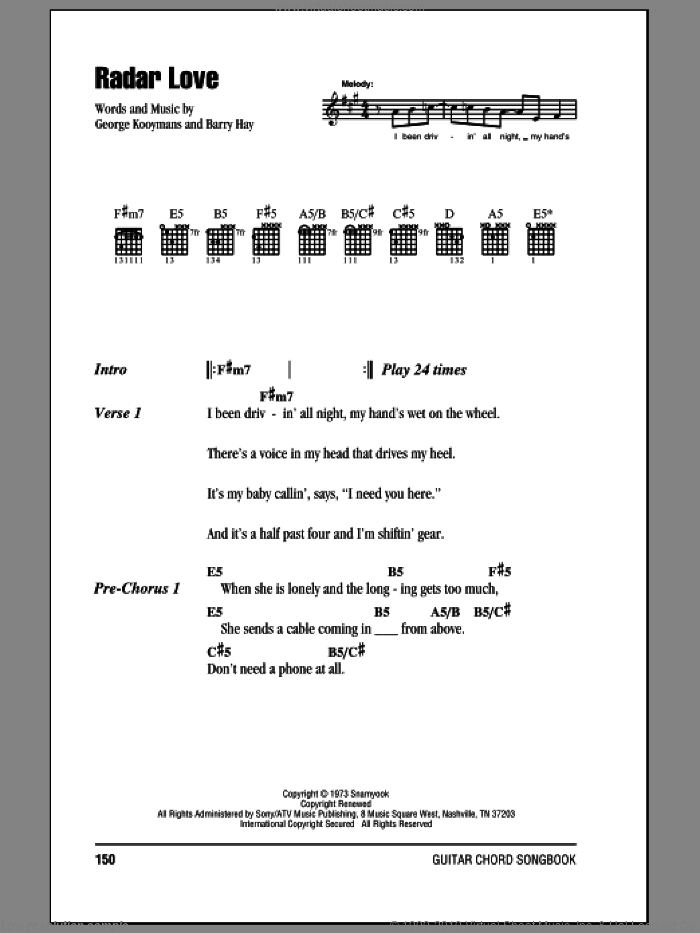 Radar Love sheet music for guitar (chords) by Golden Earring, Barry Hay and George Kooymans, intermediate skill level