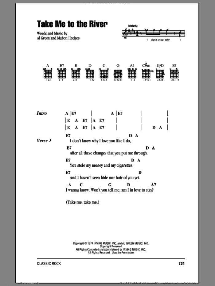Take Me To The River sheet music for guitar (chords) by Talking Heads, Al Green and Mabon Hodges, intermediate. Score Image Preview.