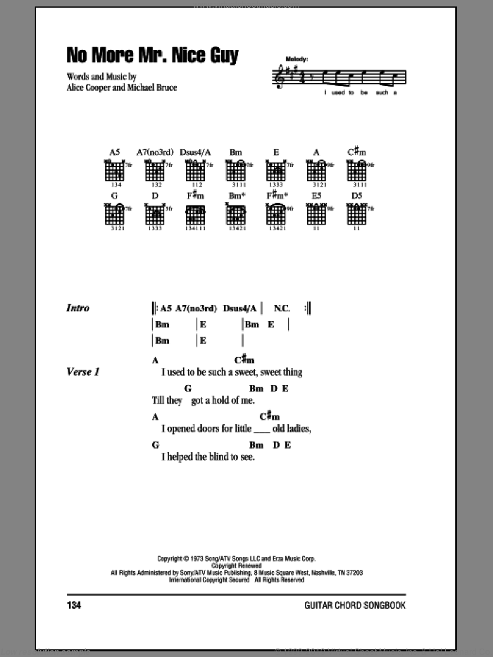 No More Mr. Nice Guy sheet music for guitar (chords) by Alice Cooper and Michael Bruce, intermediate
