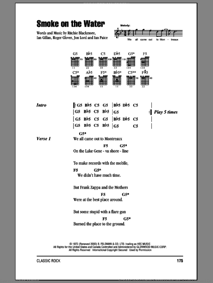 Smoke On The Water sheet music for guitar (chords) by Roger Glover, Deep Purple and Ian Gillan. Score Image Preview.